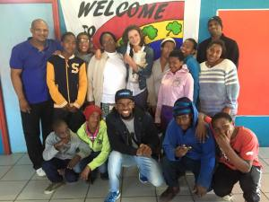 Annie, the staff and youth at the centre